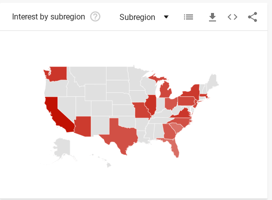 A map of the US from Google Trends