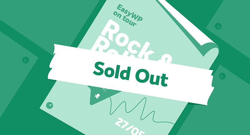 Example of a rock and roll poster with a Sold Out notification over the middle.