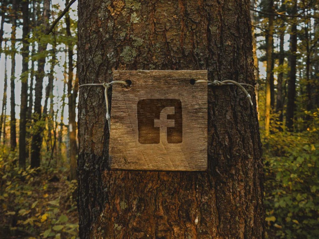 A wooden placard with the Facebook logo is tied around a tree.