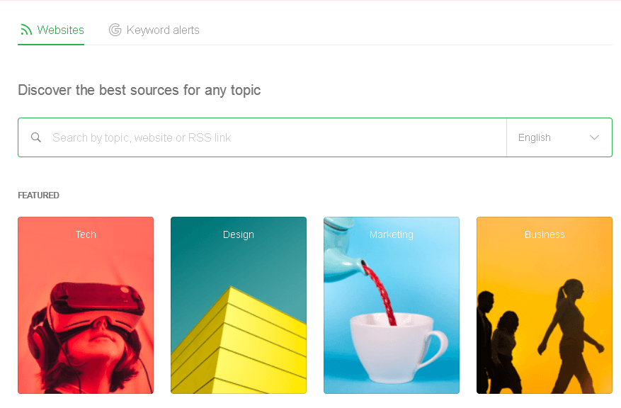 View of the topic search section in Feedly