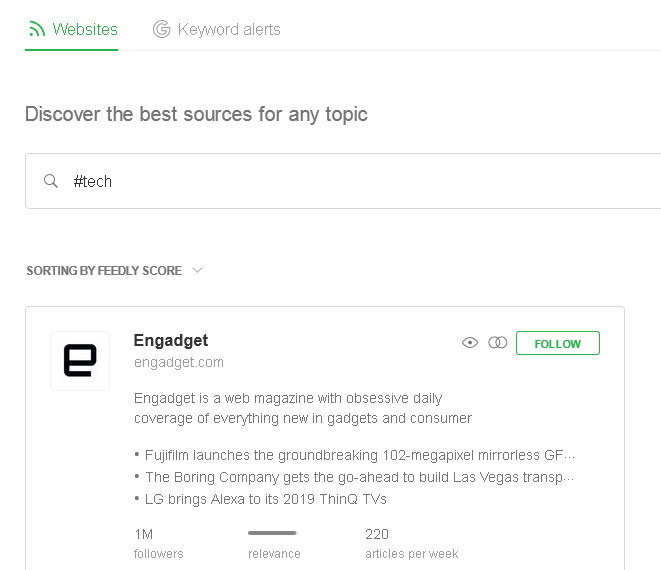 View of the follow screen in Feedly with Engaget shown in preview