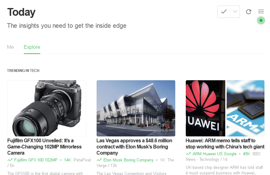 The Explore section from Feedly with trending tech articles shown.