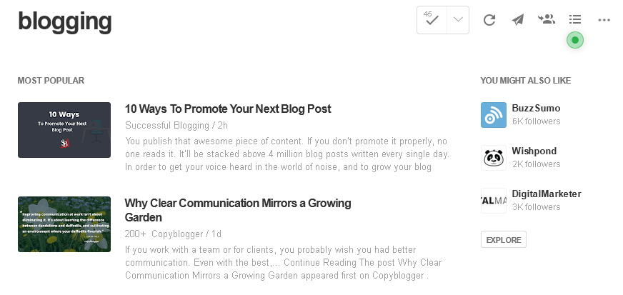 Popular articles about blogging are shown in Feedly