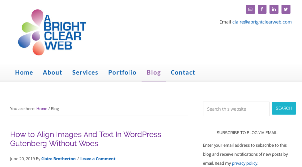 A Bright Clear Web blog homepage screenshot.