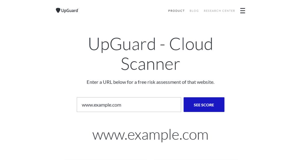 UpGuard website security risk asessment tool screenshot