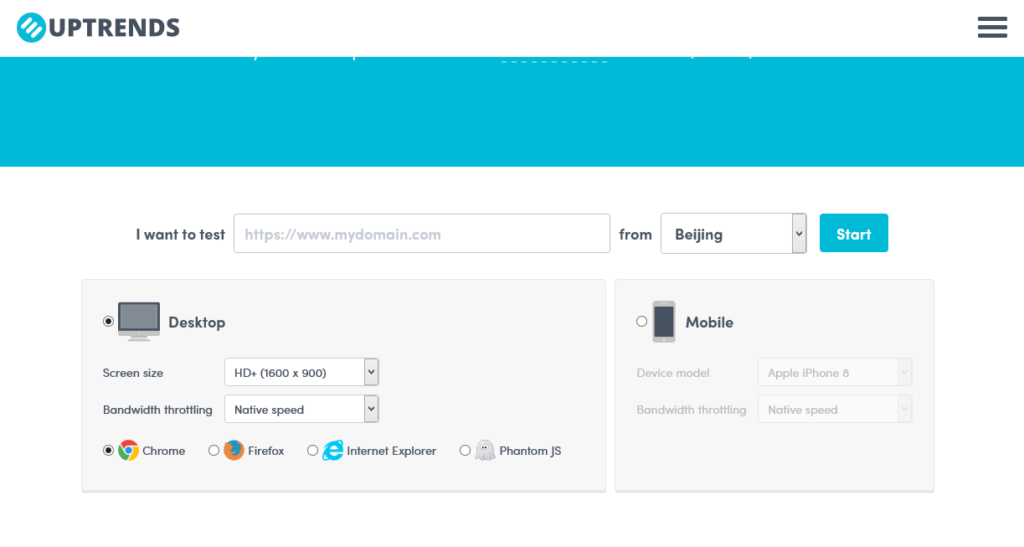 Uptrends website speed testing tool screenshot