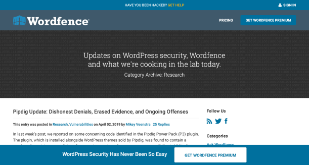 WordFence blog homepage screenshot.