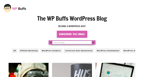 WP Buffs blog homepage screenshot.