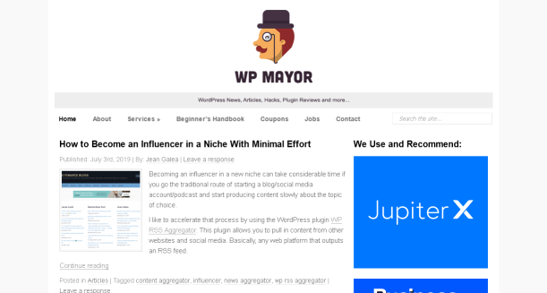 WP Mayor blog homepage screenshot.