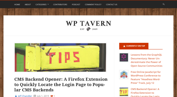 WP Tavern blog homepage screenshot.
