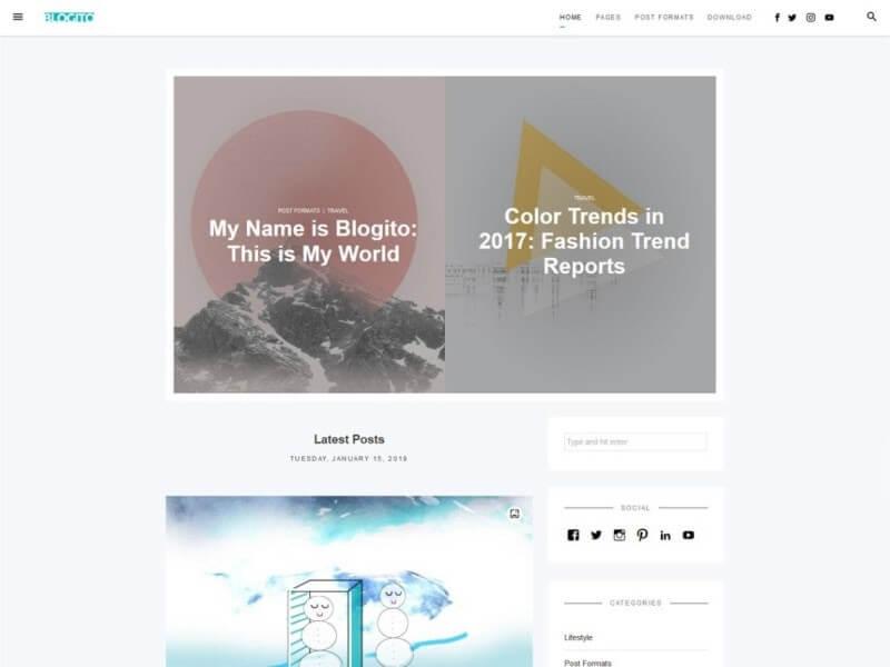 Preview of the Blogito WordPress theme.