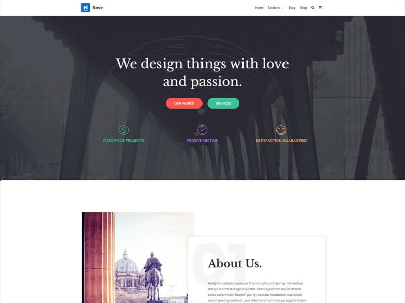 Preview of the Neve WordPress theme.