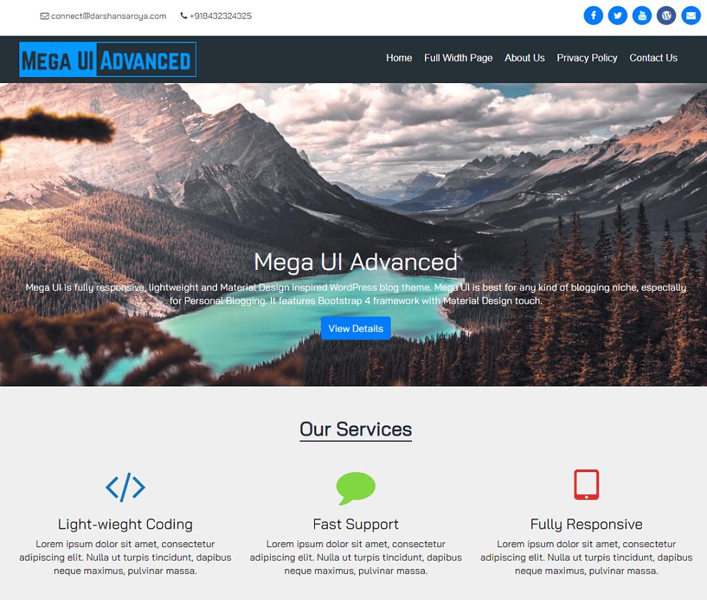 Preview of the Mega UI Advanced WordPress theme.