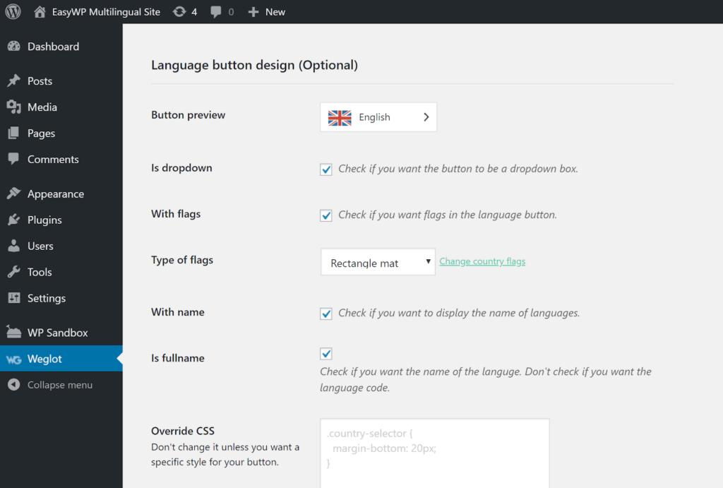 The Weglot WordPress settings dashboard.