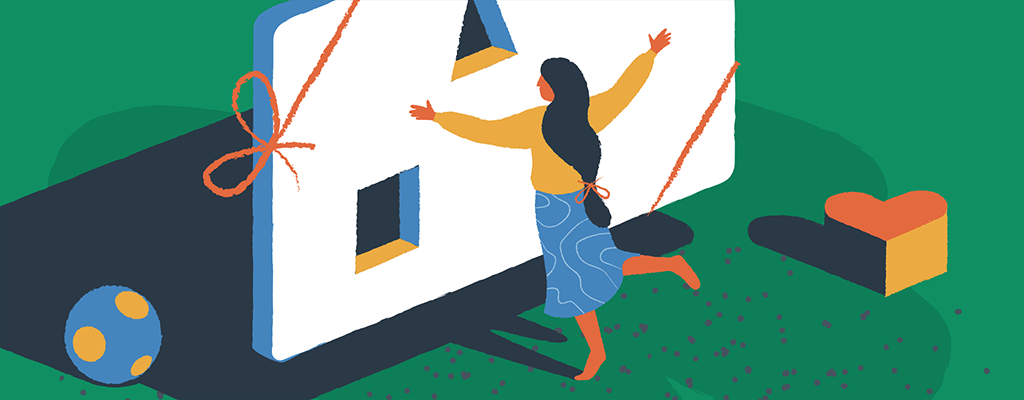 An illustration of a woman to represent making a free website.