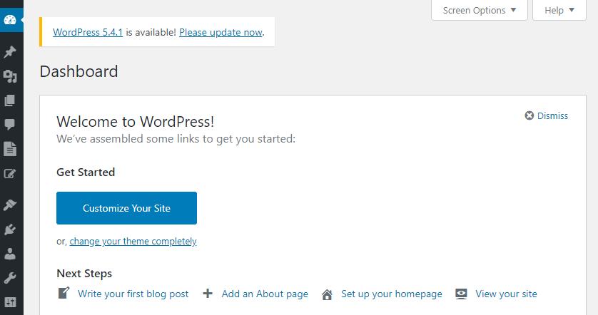 View of the WordPress dahsboard