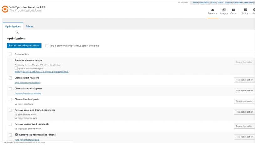 WP Optimize Screenshot