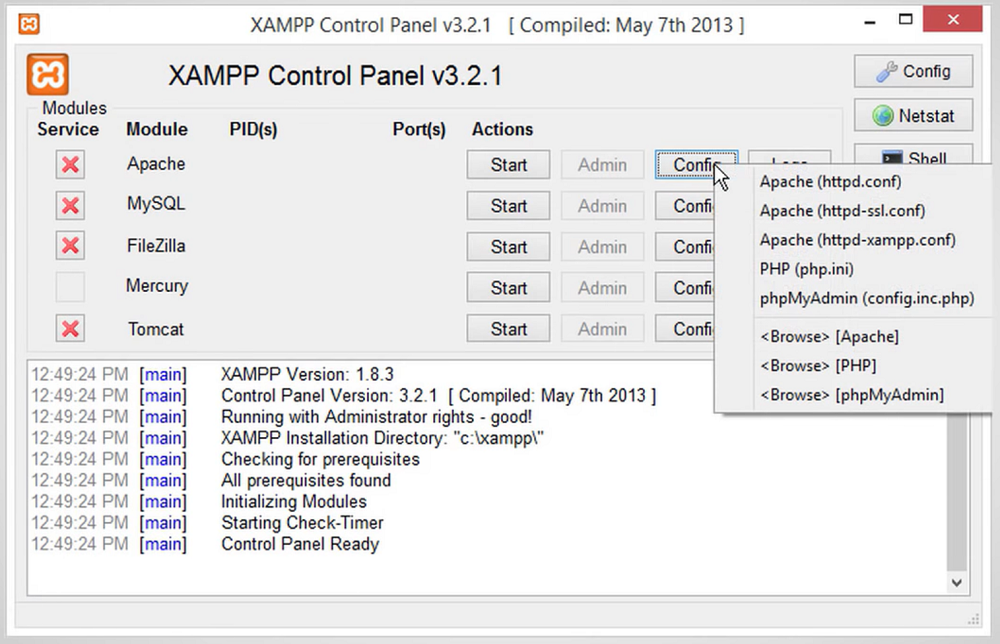 XAMPP Control Panel Screenshot