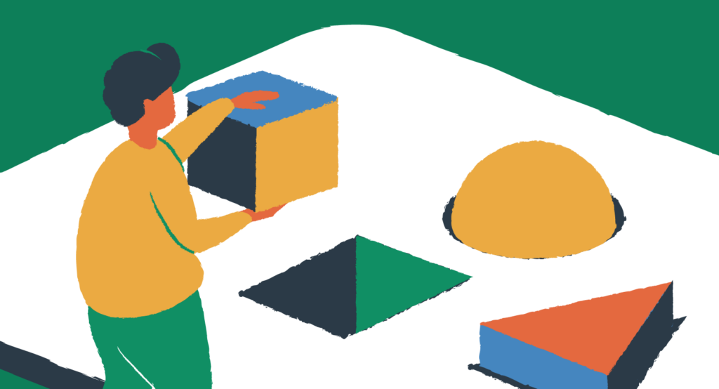 Drawing of a person putting blocks into matching cutouts.