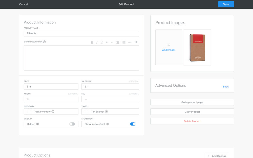 Screenshot of Weebly Product Editor
