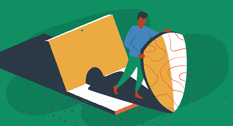 A man uses a VPN shield to protect WordPress in this figurative illustration.
