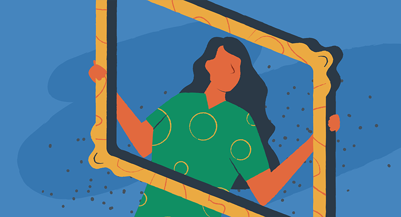 Illustration of a woman holding up a large picture frame.