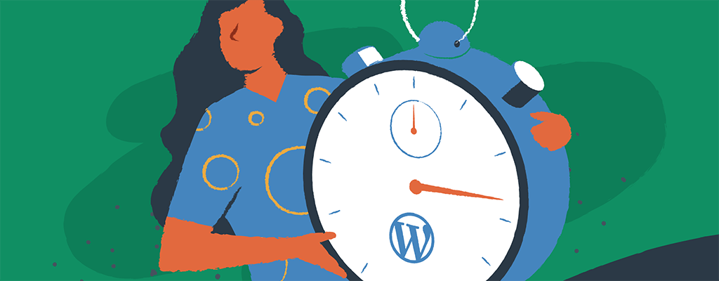 A woman holds a stopwatch measuring the fastest WordPress setup speeds.