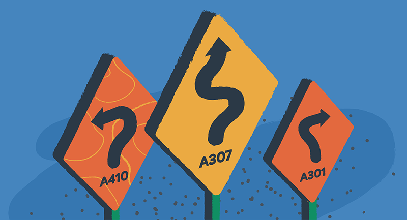 Drawing of types of redirects displayed as road signs.