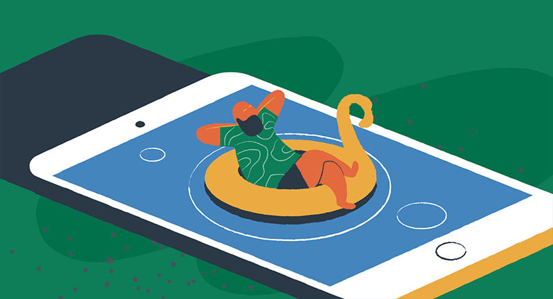 Conceptual drawing of a person floating in a pool of water, but the pool of water is really a mobile phone.