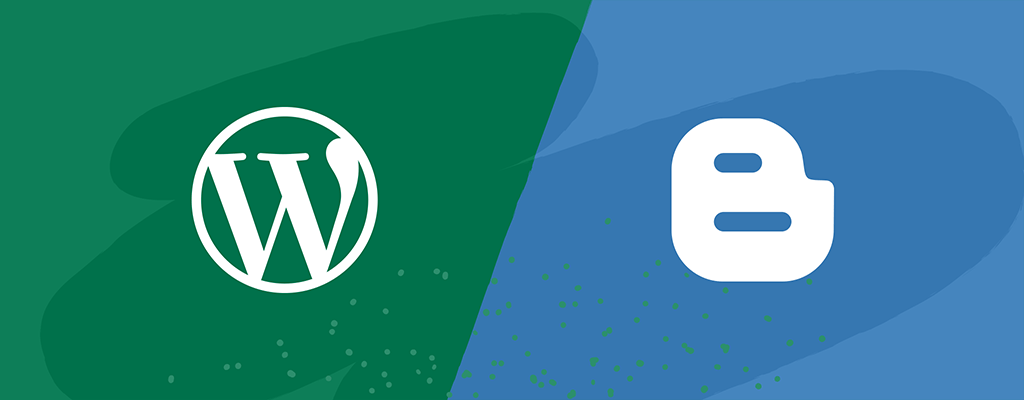 WordPress logo and Blogger Logo side by side