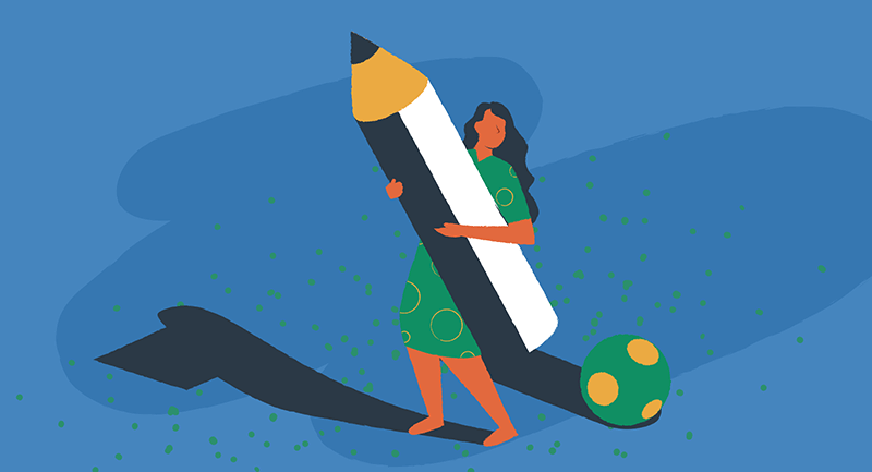 Drawing of woman holding a large pencil.