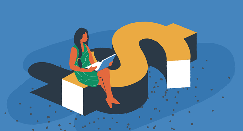 Drawing of a female blogger sitting on a money symbol.