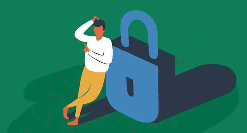 Drawing of many thinking about security while leaning on a padlock