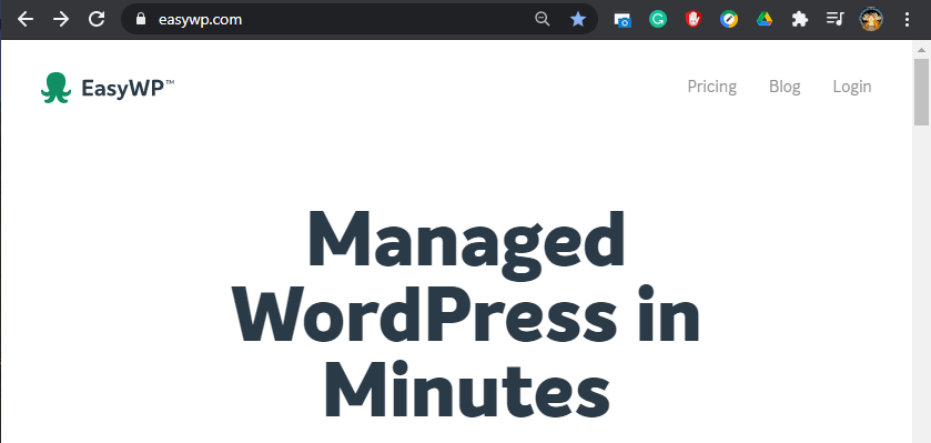 View of the EasyWP managed WordPress homescreen