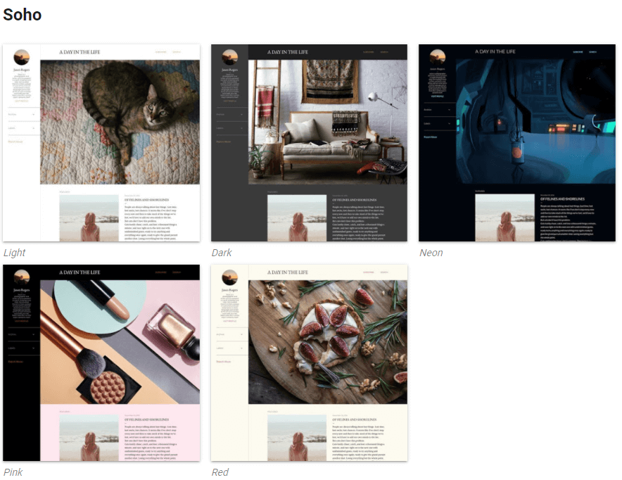 Example of the photo gallery oriented theme Soho
