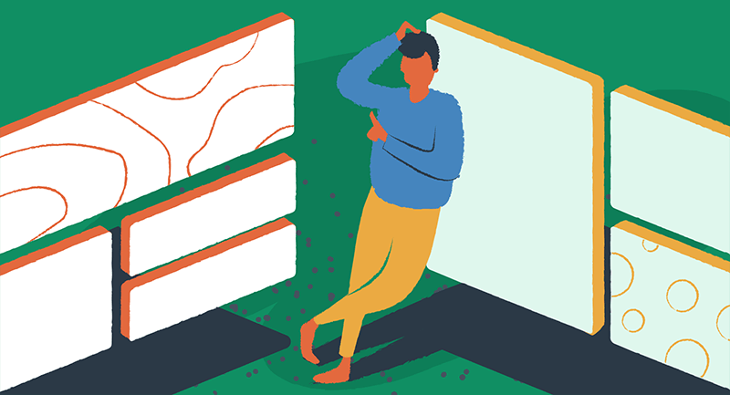 Drawing of a man trying to make a decision.