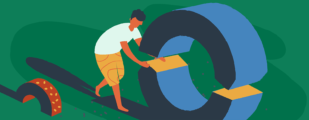 Drawing of a man rolling a round Update icon.