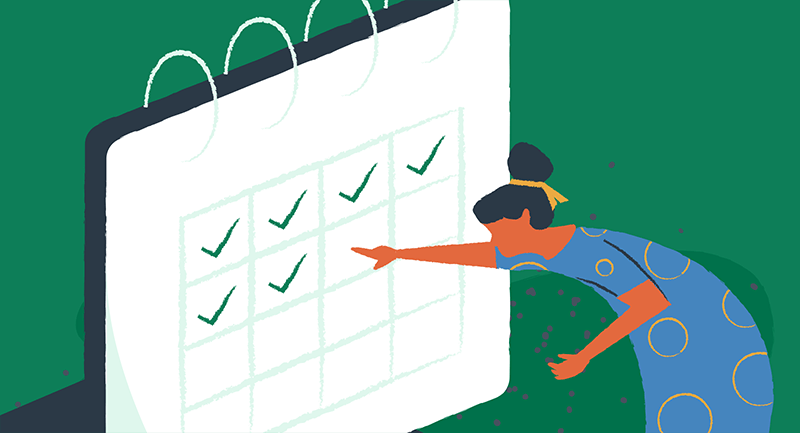 Drawing of a person checking off cache scheduling dates on a calendar.