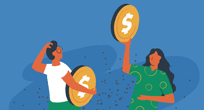 Drawing of a man and woman holding large coins to symbolize comparing prices of WordPress vs Joomla