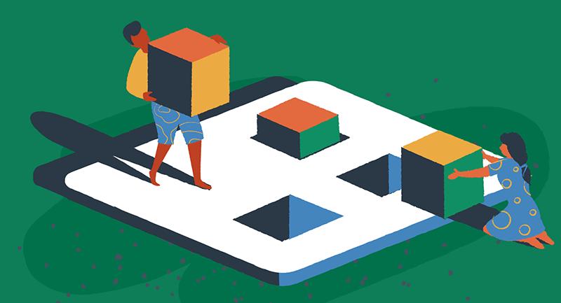 Drawing of characters moving blocks
