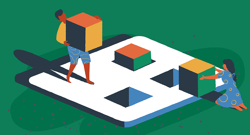 Drawing of a man and woman symbolically building a website with blocks.