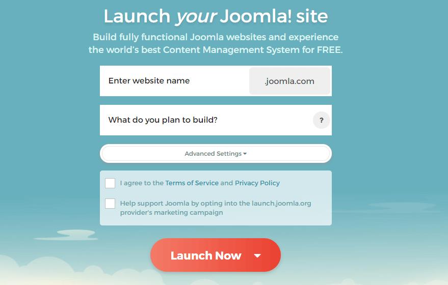 View of Joomla subdomain entry screen