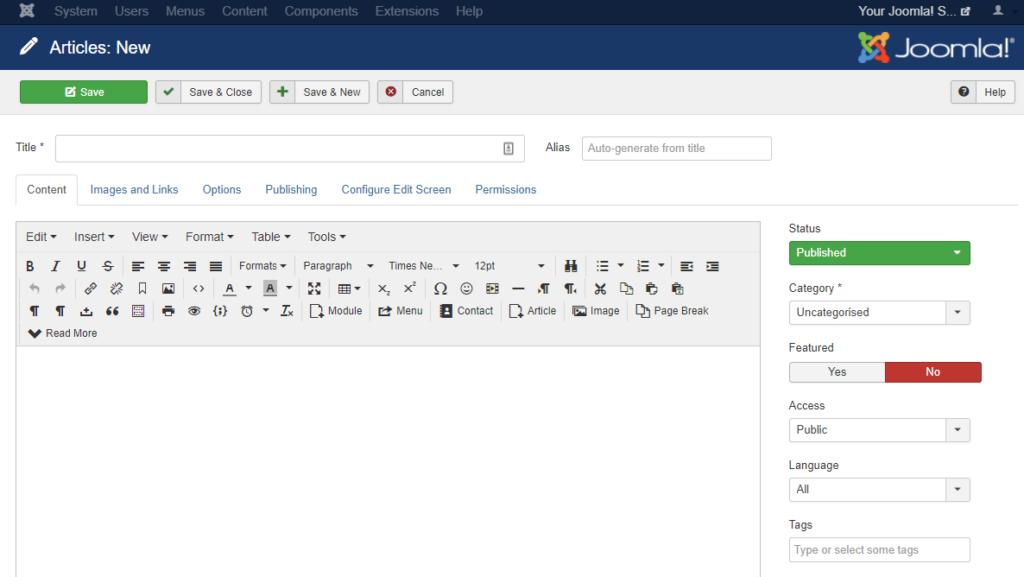 View of Joomla new articles input screen