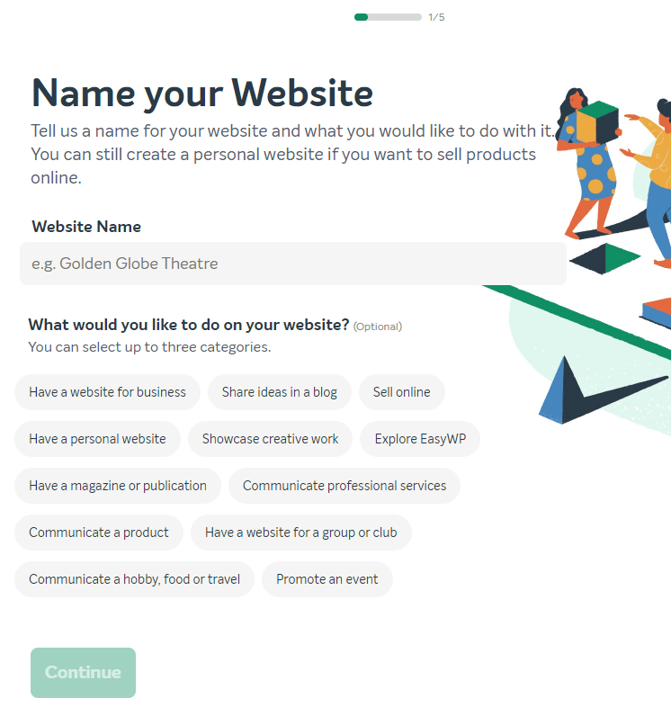 View of Name Your Website screen in EasyWP