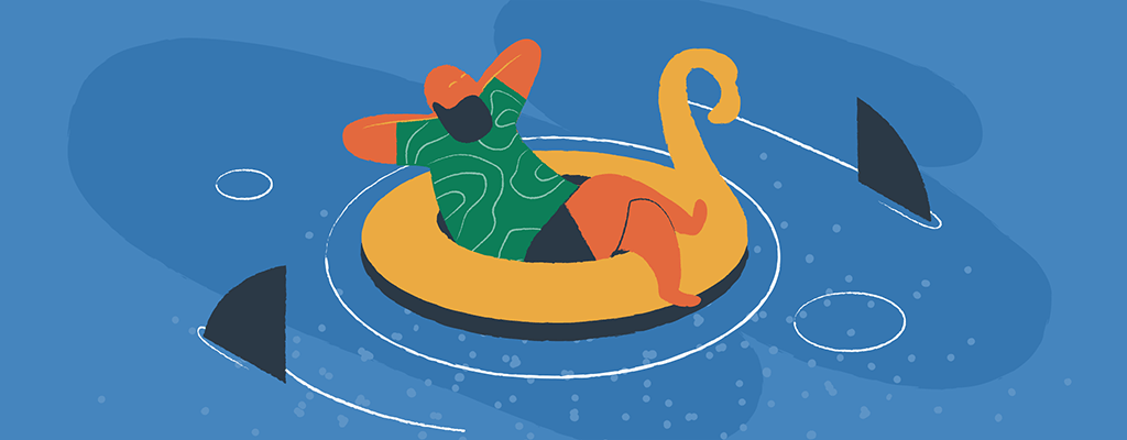 A man floats in a pool