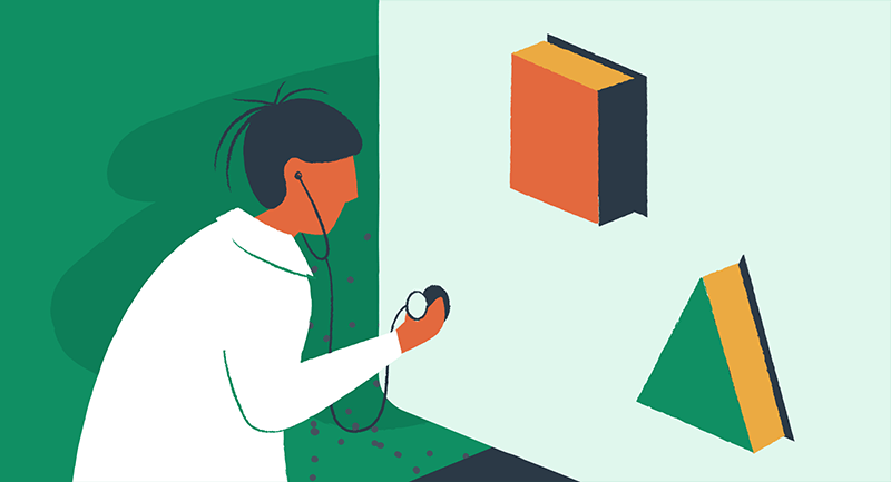 Drawing of person diagnosing the health of a WordPress site