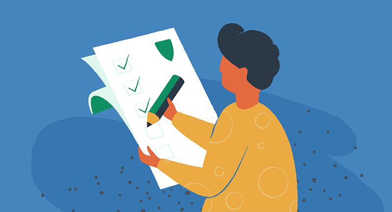 Drawing of person with a security checklist and large green pencil