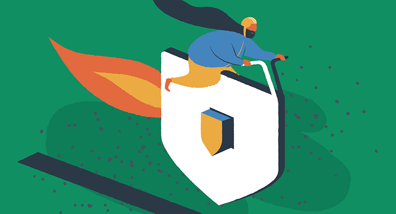 Drawing of person with a long beard riding a WordPress security icon.