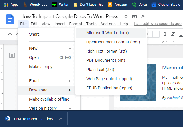 Screenshot showing a docx file being downloaded from Google Drive.