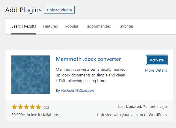 Screenshot of the Mammoth docx converter